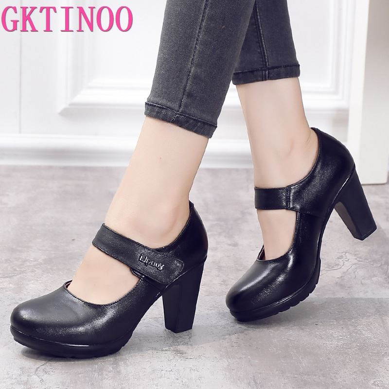 2019 Spring Autumn Shoes Woman 100 Genuine Leather Women Pumps Lady Leather Round Toe Platform Shallow