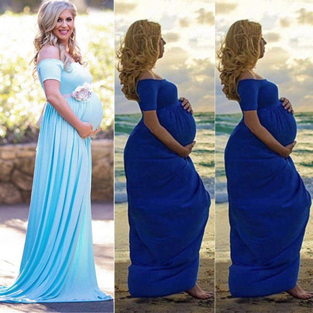 835 7 De Descuentomoda 2019 Mujeres Embarazadas Encaje Maxi Vestido Largo Maternidad Vestido Fotografía Sesión Fotográfica In Vestidos From Madre