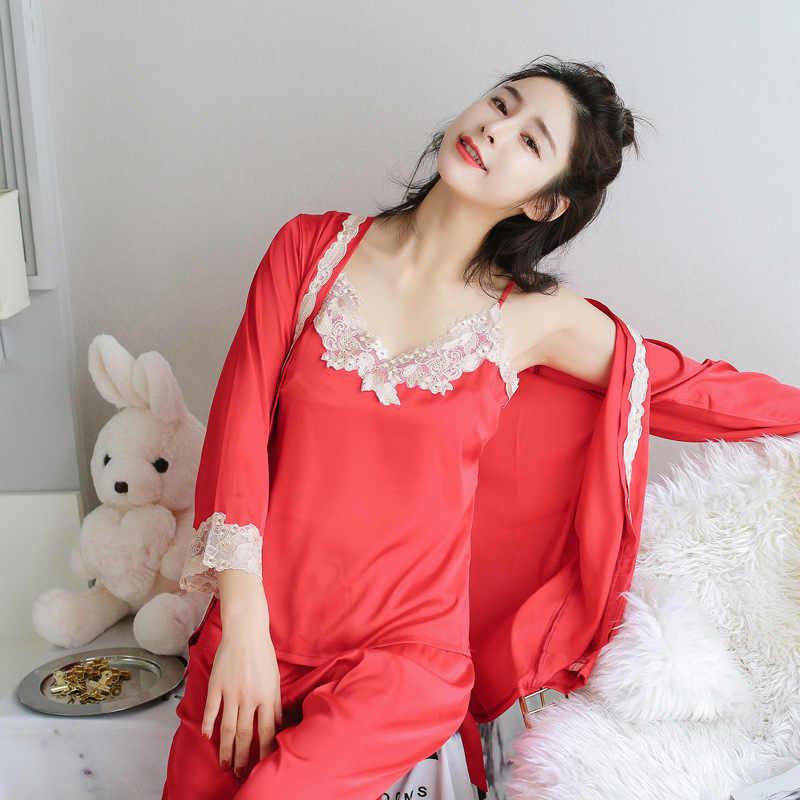 5284e5e4d1 ... White Women Lace 3PCS Sleepwear Elegant Female Long Sleeve Home Wear  Rayon Pajamas Suit Sexy Flower ...