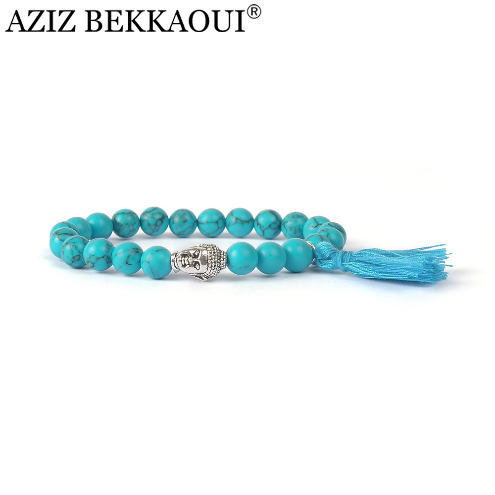Aziz 25 Colors Buddha Beaded Bracelets Bangles Natural Stone Turquoise  Bracelets For Women Colorful Tassel Men