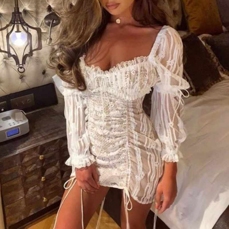 Лето сексуальное однотонное кружевное платье с вышивкой для женщин без бретелек с пышными рукавами с высокой талией Лоскутная повязка Мини платья