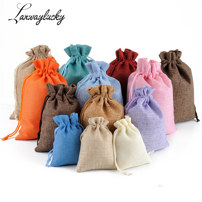 024754efb1 Buying Guide 50pcs/lot 7x9cm Natural Jute Pouch Bags Sack Plain Faux Hessian  Burlap Drawstring Bags Small Mini Jewelry Gift Packaging Pouches
