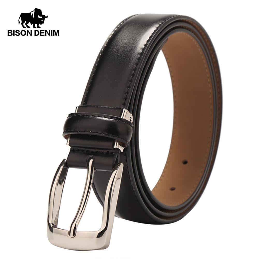 BISON DENIM Visoka kakovost krava usnjeni pas za moške poslovni pas moški pas kravjega usnja Casual pas darilo W71122  t