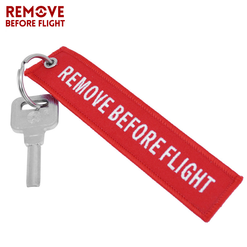 Remove Before Flight Key Chain Chaveiro Red Embroidery Keychain Ring for Aviation Gifts OEM Key Ring Jewelry Luggage Tag Key Fob1