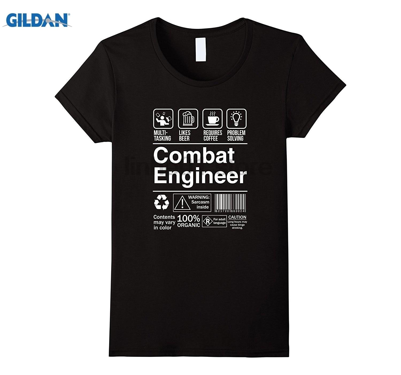 GILDAN Combat Engineer Shopping Label Problem Solver T-Shirt glasses Womens T-shirt
