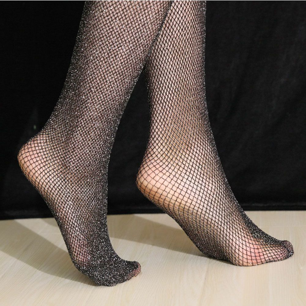 Spring Women Tights Fishnet Stockings Charming Sexy Shiny Pantyhose Glitter Stockings Glossy Calcetines Mujer Femme Medias SW128 in Tights from Underwear Sleepwears