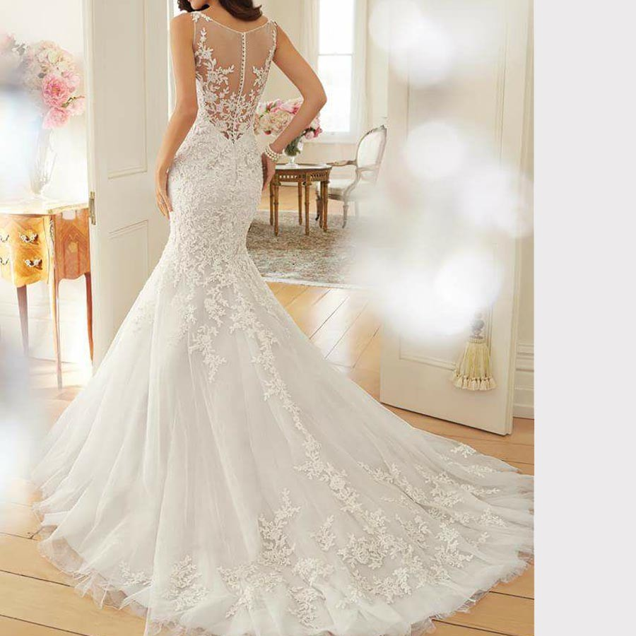 2017 Mermaid Wedding Dresses Appliques Lace Crystal Beaded Wedding Gown Scoop Tulle Wedding Dress vintage vestidos de novia (2)