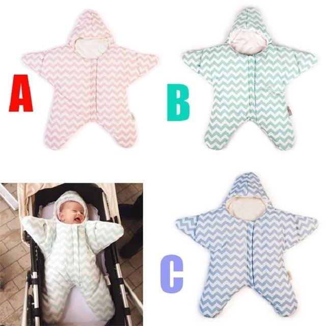 100% Cotton Newborn Baby Sleeping Bag Starfish Thick Cotton Baby Slaapzak Zeester Baby Wrap Envelope Swaddling Sleepsack Winter