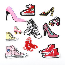 50pcs Wholesale Jeans Shoes Patches Applique Iron On Cartoon Patch Fabric Sewing Embroidered Stickers For Clothes Badge