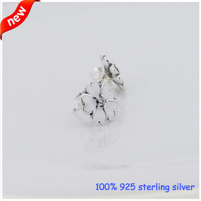 925 Sterling Silver Primrose Silver Earrings White Enamel Compatible with European Style Jewelry For Women DIY Charms CKK