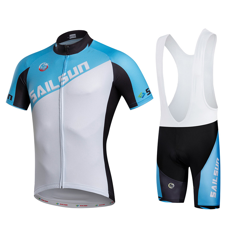 HOT SAIL SUN Men bike Jersey or Cycling Bib Shorts MTB  Clothing Blue White Summer Male Outdoo Pro team ropa  Bicycle Top wear 2016 new men s cycling jerseys top sleeve blue and white waves bicycle shirt white bike top breathable cycling top ilpaladin