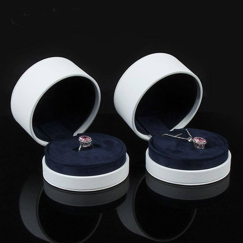 Boîte de haute qualité pour bijoux livraison gratuite 9 (D) * 6.3 (H) cm PU anneau étuis de transport boucle d'oreille de mariage boîtes d'emballage bijoux affichage