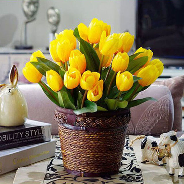New 10pcs Pretty Artificial Tulip Flowers with Leaves Flower ...