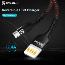 Coolreall Reversible USB Micro cable 2.4A Phone fast charging Charge Cable for Samsung Xiaomi huawei Tablet Android