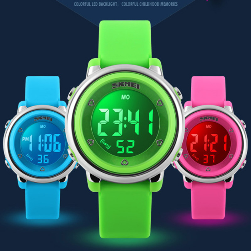 2018 SKMEI Children Watch LED Digital Sports Relojes Mujer Boys Girls Fashion Kids Cartoon Jelly Waterproof Wristwatches
