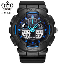 SMAEL s-shock dial chronograph watches men's LED military watch Casual outdoor sports men kids dual display watch reloj hombre