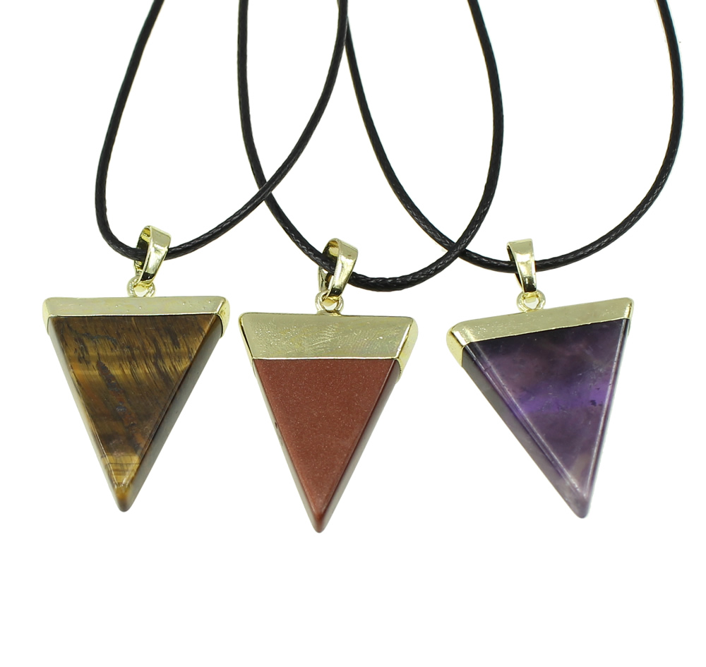 YYW Hot Sale Triangle Natural Real Tiger Eye Aventurine Opal Quartz Rose Stone Pendant Leather Choker Necklaces Women Jewelry