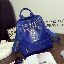 2016 High Quality Fashion Women Backpack pu Leather Students Girls School Bag Rivets Backpack Casual All Match Lady Travel Bag