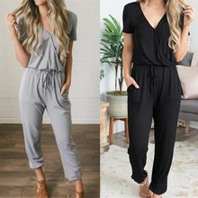 Women Jumpsuit Romper Short Sleeve V Neck Casual Playsuit Overalls Ladies  Loose Gray Black