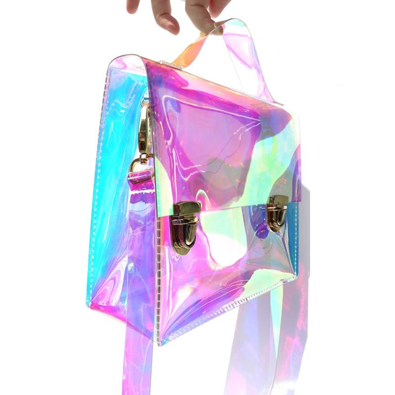 6cff76758 Bolsa de mano láser holograma transparente de moda de playa soleada para  mujer bolsa holográfica marca famosa mochila escolar bolsa de playa  transparente de ...