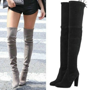 Womens stretch suede over the knee boots sexy fashion slim thigh high boots chunky heels plus.jpg 350x350