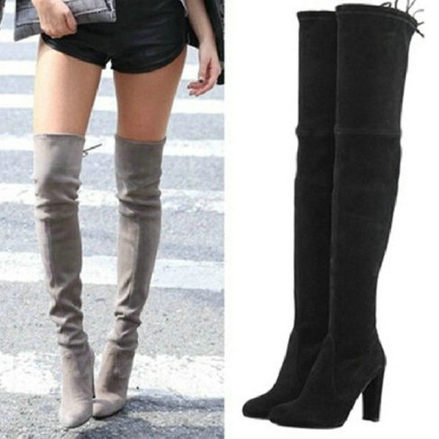 Aliexpress.com : Buy Womens Stretch Suede Over the Knee Boots Sexy ...