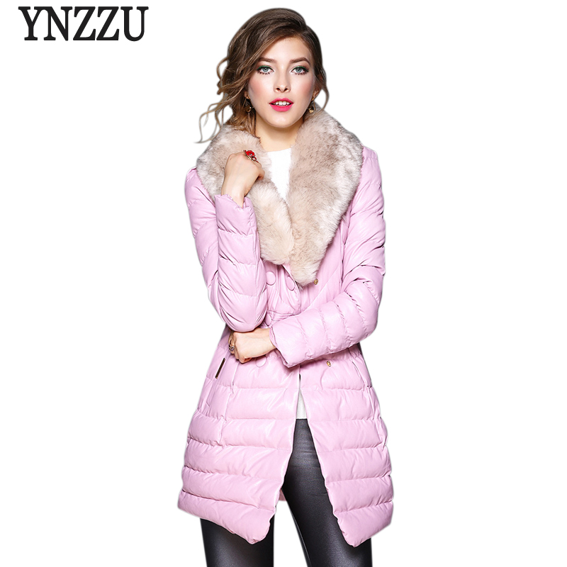 2017 New Women Winter Coat PU Leather Fur Turn Down Collar Warm Parkas Elegant Womens Bio Down Jackets Female Overcoat AO398