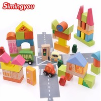 Simingyou 62 Pieces City Traffic Building Blocks Baby Educational Wooden Toy Kids Basic Stacking Toy C20 Drop Shipping