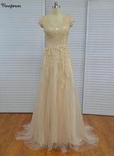 Vinoprom 2017 Vestido De Noiva Custom Made See Through Back Zipper Button Beaded Appliqued Cap Sleeve Lace Wedding Dress button through calico dress