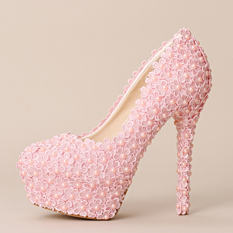 Luxury Sweet Handmade Ultra High Heel Bridal Shoes Women Fashion