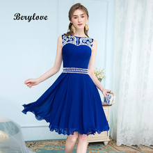 BeryLove Short Royal Blue Homecoming Dresses 2018 Mini Beaded Open Back  Chiffon Homecoming Dress Graduation Gowns Party Dresses 12da9b192207