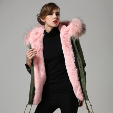 fashion pink big real fur collar warm winter parka,factory cheap price free shipping promotion style fur jacket