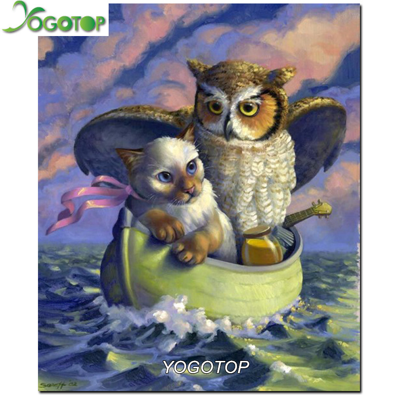 DIY 5D Diamond Painting Cross Stitch Owl Rubik'S Cube