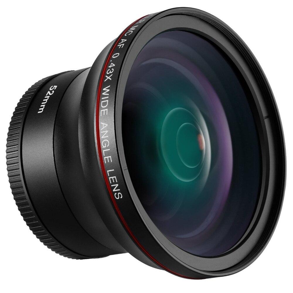 Neewer52MM 0.43X HD Lente Grande Angular com Lente Macro Close-Up Parte Nenhuma Distorção Digital de Alta Definição para Nikon câmera DSLR