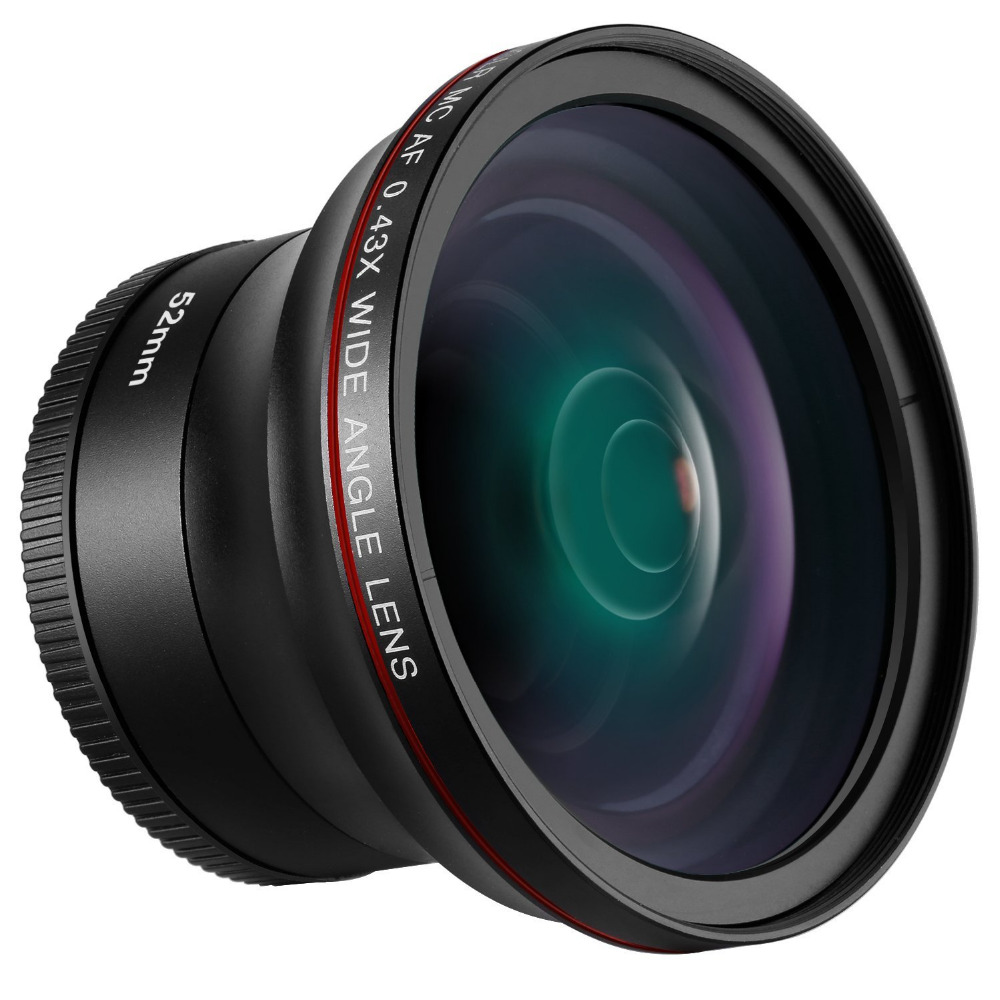 Neewer52MM 0.43X HD Wide Angle Lens with Macro Close Up Portion Lens No Distortion Digital High Definition for Nikon DSLR Camera