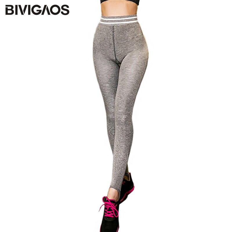 BIVIGAOS New Autumn Winter Womens Leggings Stretch Striped High Waist Workout Leggings Slim Skinny Sexy Foot Pants Legging Women