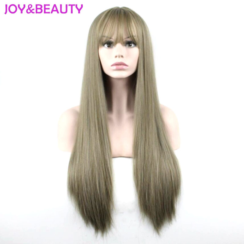JOY&BEAUTY Hair Synthetic Wigs Heat Resistant Full Hair Cosplay Wigs Matte Women 70cm Long Straight Wig Linen Color