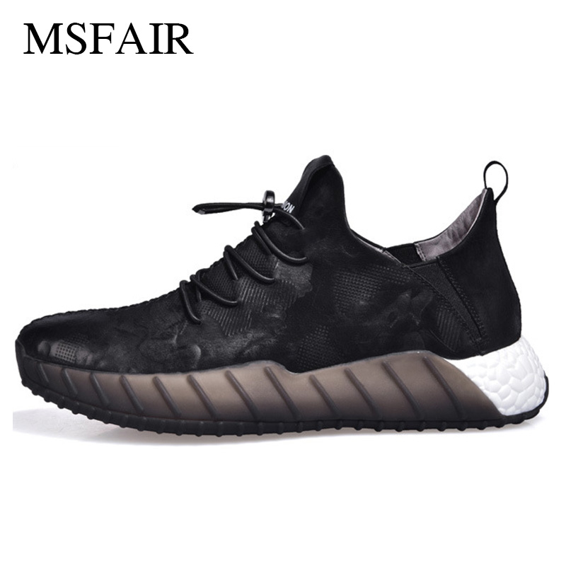 Msfair Men Running Shoes Genuine Leather Sport Shoes For Men Brand Antiskid and wear-resistant Black Men Sneakers fashion genuine leather men shoes wear resistant bottom black sneakers men cool adult casual shoes footwear krasovki zapatillas