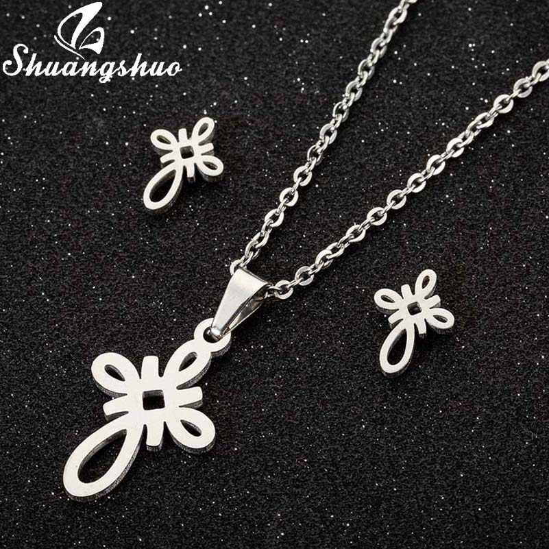 Shuangshuo Chinese Knot Ethnic Pendant Necklace Women Stainless Steel Earring Eternal Knot Necklace Jewelry Weeding Gifts