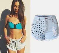2016 New Fashion Studs Rivet Denim Shorts Women's Jeans Short Pants High waist Blue Shorts