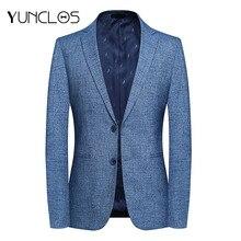 YUNCLOS, Мужской приталенный пиджак, деловой блейзер для мужчин, Одноцветный, 2 пуговицы, джентльменская верхняя одежда, пиджак