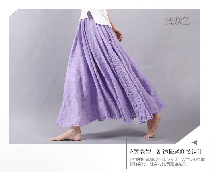 Sherhure 19 Women Linen Cotton Long Skirts Elastic Waist Pleated Maxi Skirts Beach Boho Vintage Summer Skirts Faldas Saia 37