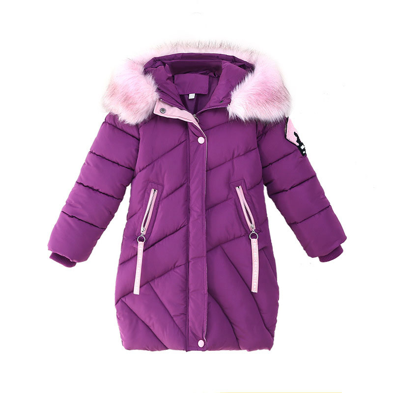 2018 Girls Winter Parka Coat Hooded Fur Collar Kids Cotton Padded Coat For Girls Snow Wear Thick Warm Jacket Outerwear Clothes girls winter coat 30 degree snow wear children parka coat hooded fur collar velvet clothes kids thick warm jackets for girls