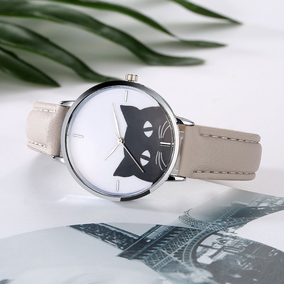 Women's Cat Face Quartz Leather Band Wrist Watch