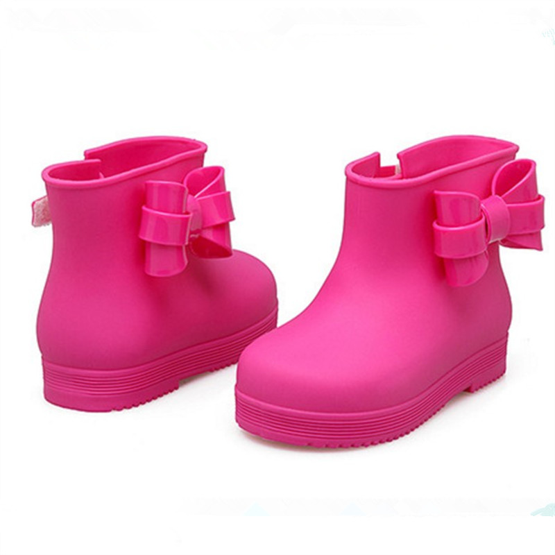 Children Rainshoes Girls Fashion Kid Rainboots Enfants Tottes filles baby Kids High Boots Cartoon Bowknot Shoes