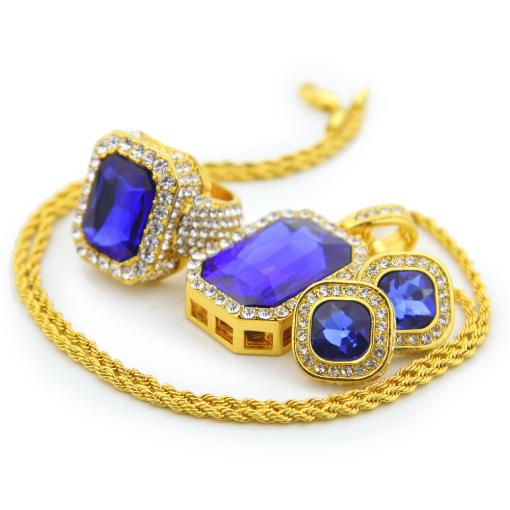 Hip Hop Earrings: Hip Hop Rock Jewelry Set Gifts Men Women Golden Bling