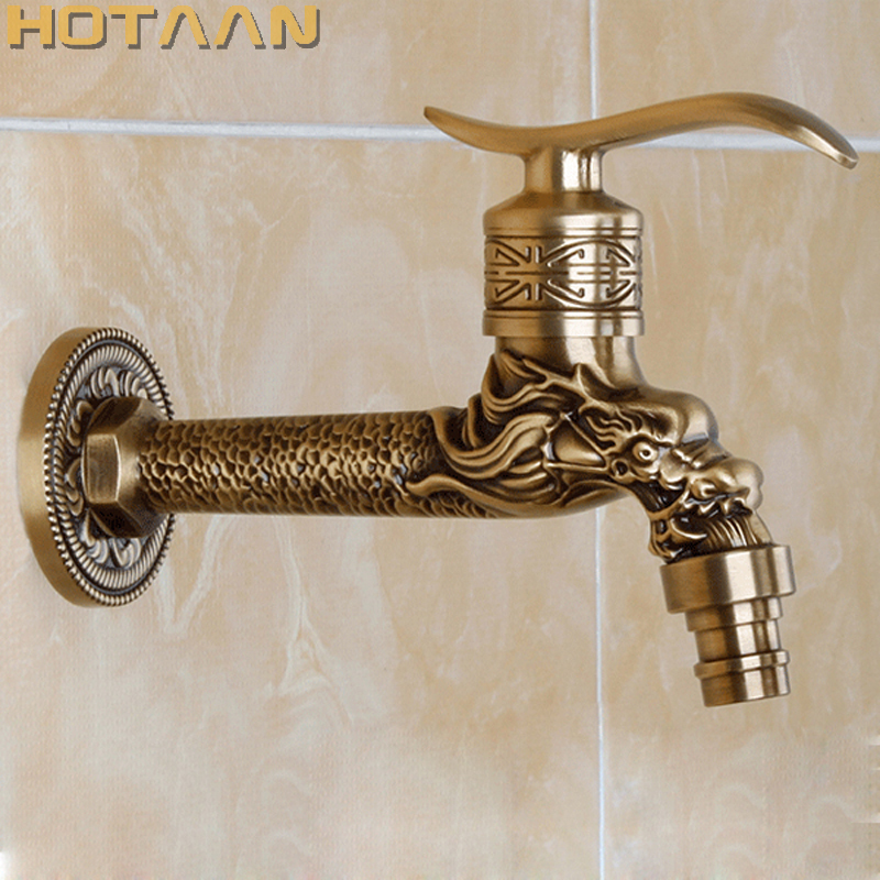 Bibcocks Bathroom Sinks,faucets & Accessories Antique Bronze Dragon Carved Tap Animal Shape Faucet Garden Bibcock Washing Machine Faucet Outdoor Faucet For Garden Yt-5157-a