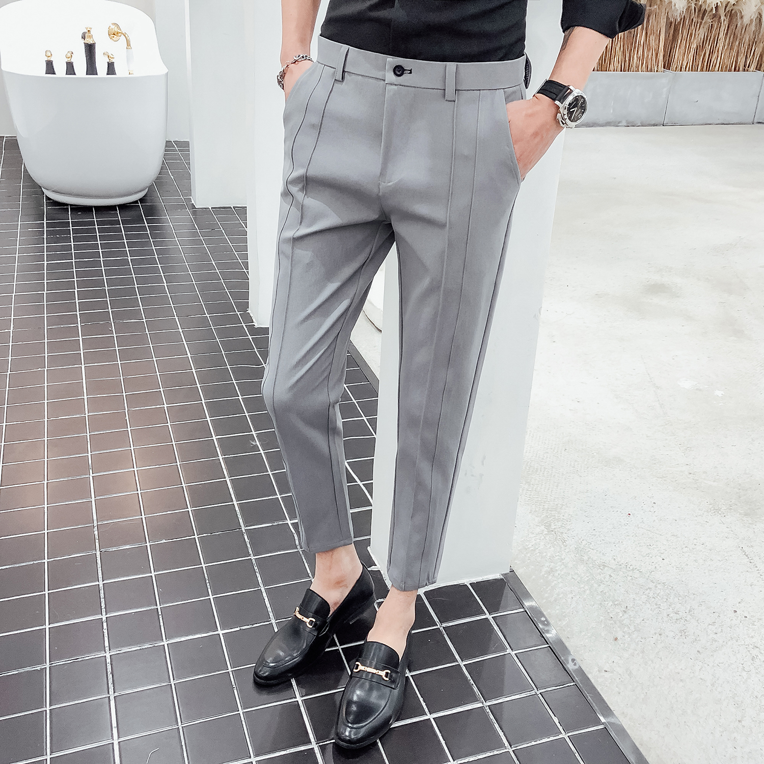 Fashion Business Stretch Suit Pant Man Luxury Brand Casual Pants Men Straight Slim Fit Formal Trousers Male Plus Size 36 Black