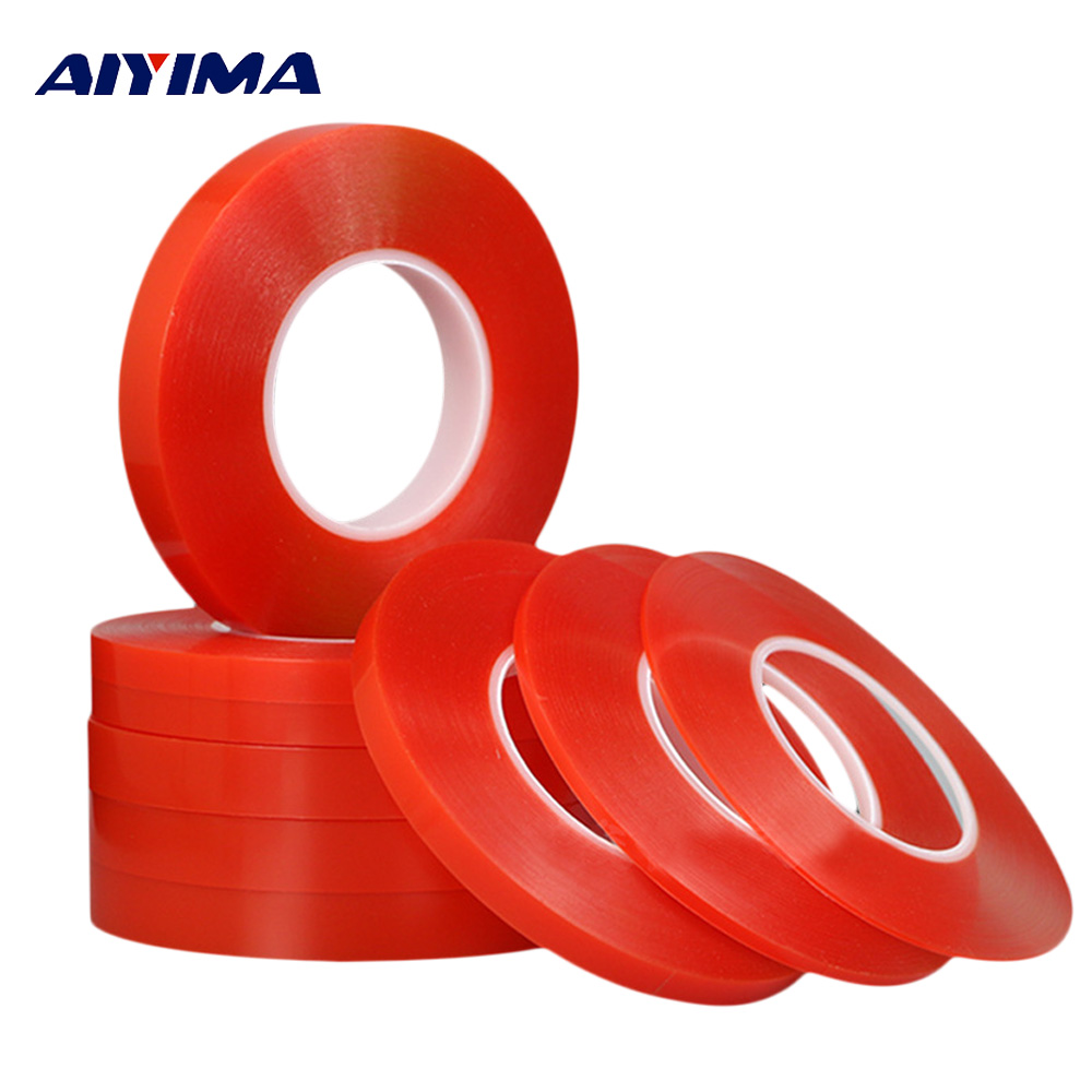 3M Double Sided Tape Strong Acrylic Adhesive PET Red Film Clear Double Side Tapes No Trace For Phone Tablet LCD Screen Glass 2mm 50m strong acrylic adhesive red film clear double sided tape sticker for mobile phone lcd pannel display screen hot sale