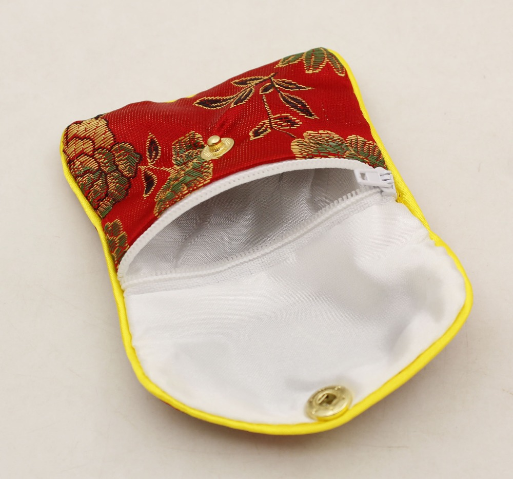 10 Pcs Gift Jewelry Bags Pouch 70mmX80mm Red Man-made Silk Gift Pouch SNAP BUTTON